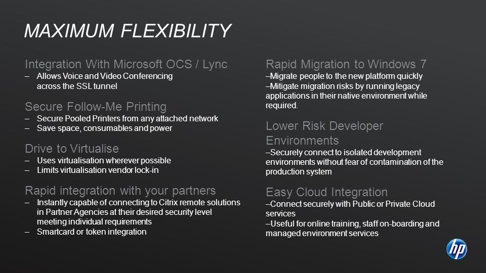 Integration With Microsoft OCS / Lync –Allows Voice and Video Conferencing across the SSL tunnel Secure Follow-Me Printing –Secure Pooled Printers fro
