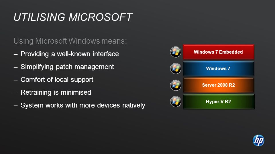 Using Microsoft Windows means: –Providing a well-known interface –Simplifying patch management –Comfort of local support –Retraining is minimised –Sys