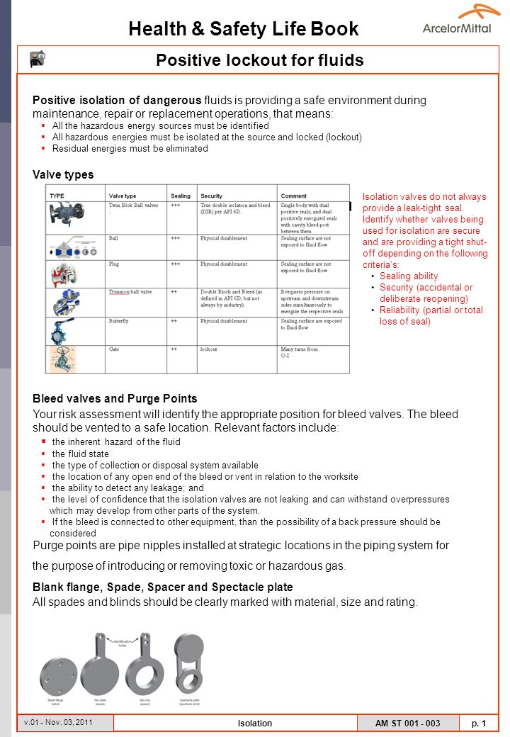 Health & Safety Life Book AM ST 001 - 003 p. 1 v.01 - Nov.