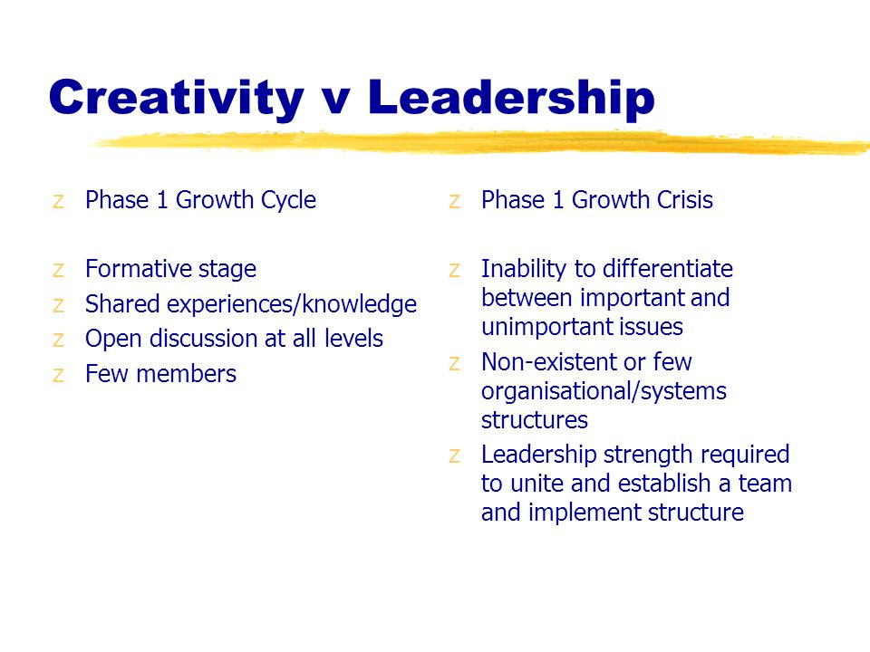 Creativity v Leadership zPhase 1 Growth Cycle zFormative stage zShared experiences/knowledge zOpen discussion at all levels zFew members z Phase 1 Gro