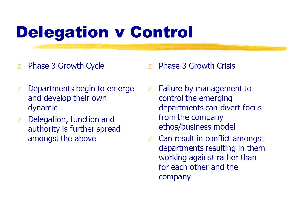 Delegation v Control zPhase 3 Growth Cycle zDepartments begin to emerge and develop their own dynamic zDelegation, function and authority is further s