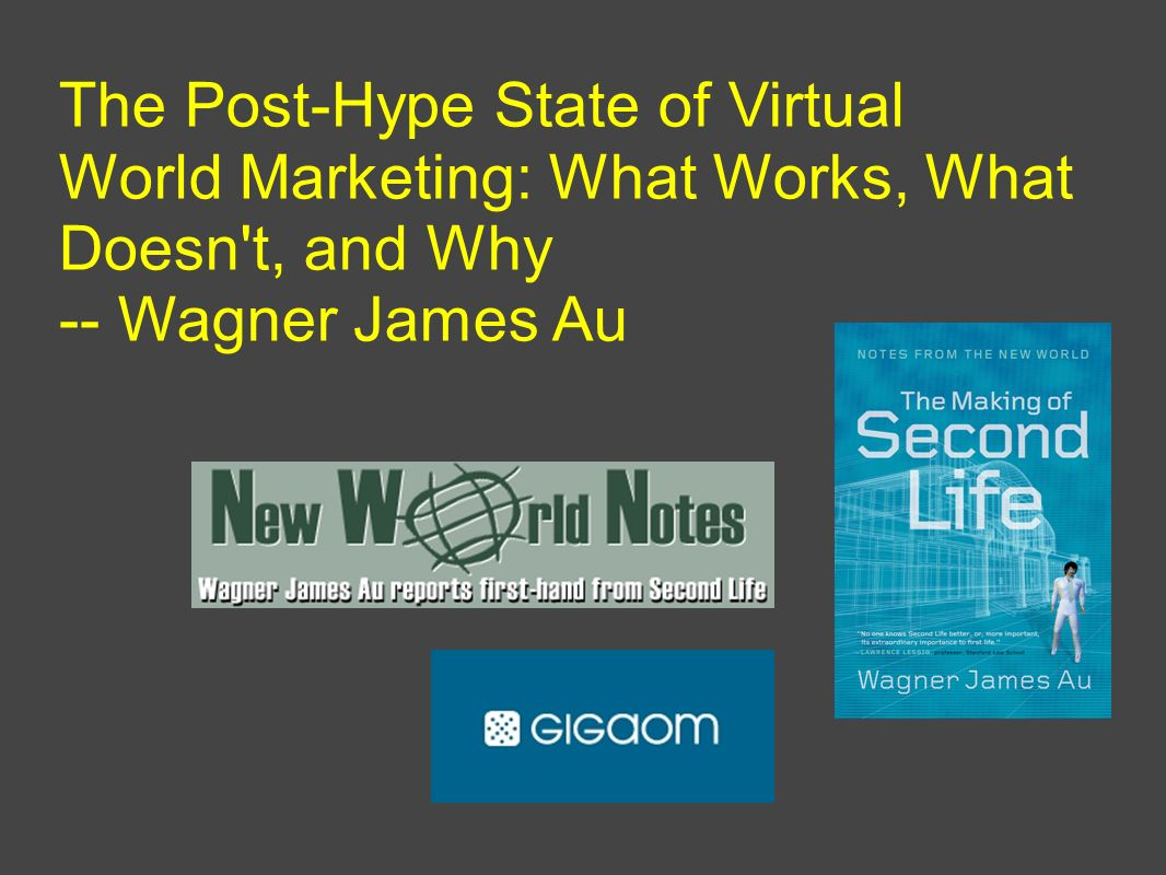The Post-Hype State of Virtual World Marketing: What Works, What Doesn t, and Why -- Wagner James Au