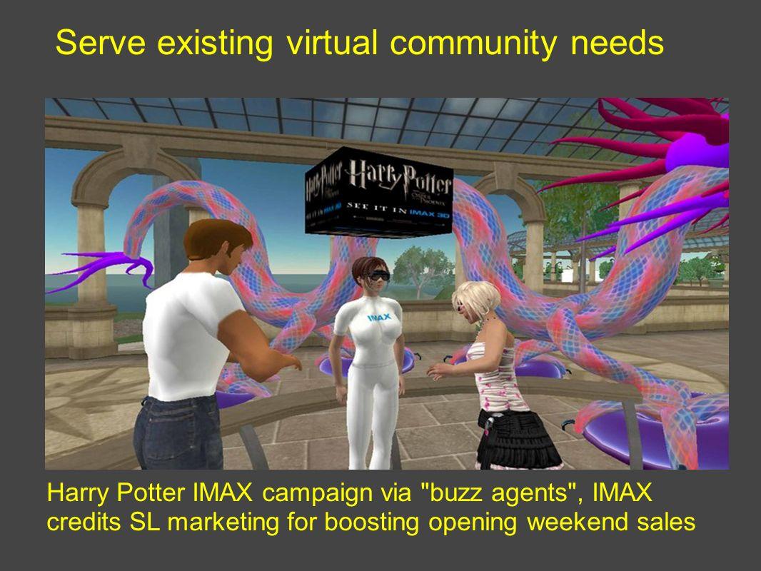 Serve existing virtual community needs Harry Potter IMAX campaign via