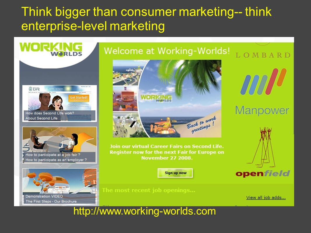 Think bigger than consumer marketing-- think enterprise-level marketing http://www.working-worlds.com