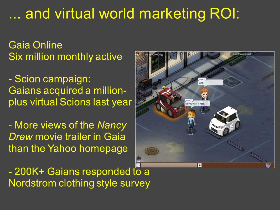 ... and virtual world marketing ROI: Gaia Online Six million monthly active - Scion campaign: Gaians acquired a million- plus virtual Scions last year