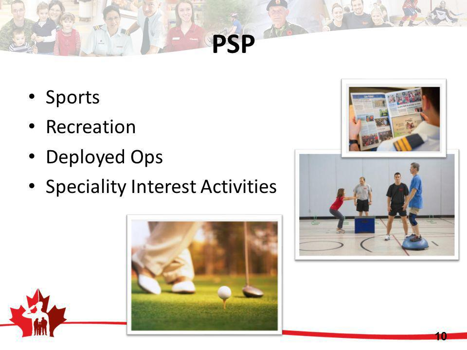 PSP 10 Sports Recreation Deployed Ops Speciality Interest Activities