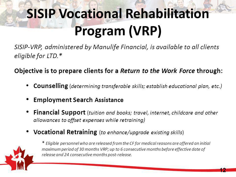 SISIP Vocational Rehabilitation Program (VRP) SISIP-VRP, administered by Manulife Financial, is available to all clients eligible for LTD.* Objective