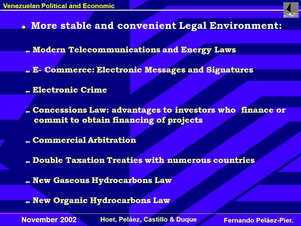 Fernando Peláez-Pier. Hoet, Peláez, Castillo & Duque Venezuelan Political and Economic November 2002 Modern Telecommunications and Energy Laws E- Comm