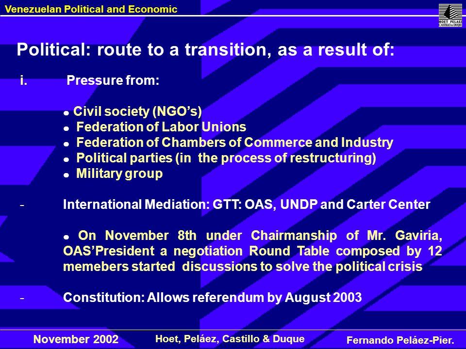 Fernando Peláez-Pier. Hoet, Peláez, Castillo & Duque Venezuelan Political and Economic November 2002 i. Pressure from: Civil society (NGOs) Federation