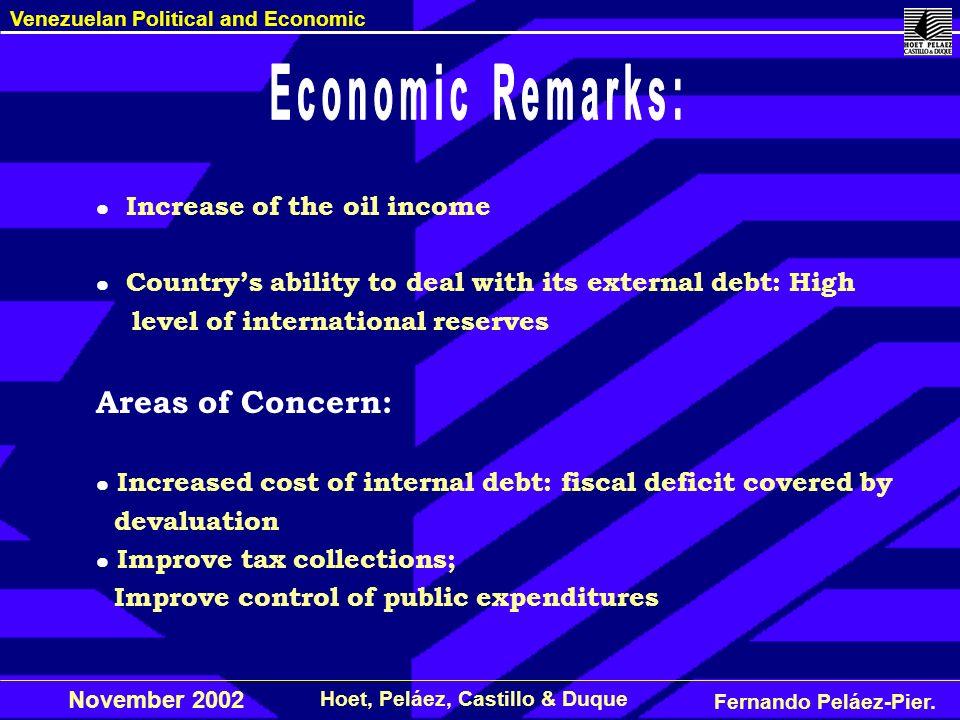 Fernando Peláez-Pier. Hoet, Peláez, Castillo & Duque Venezuelan Political and Economic November 2002 Increase of the oil income Countrys ability to de