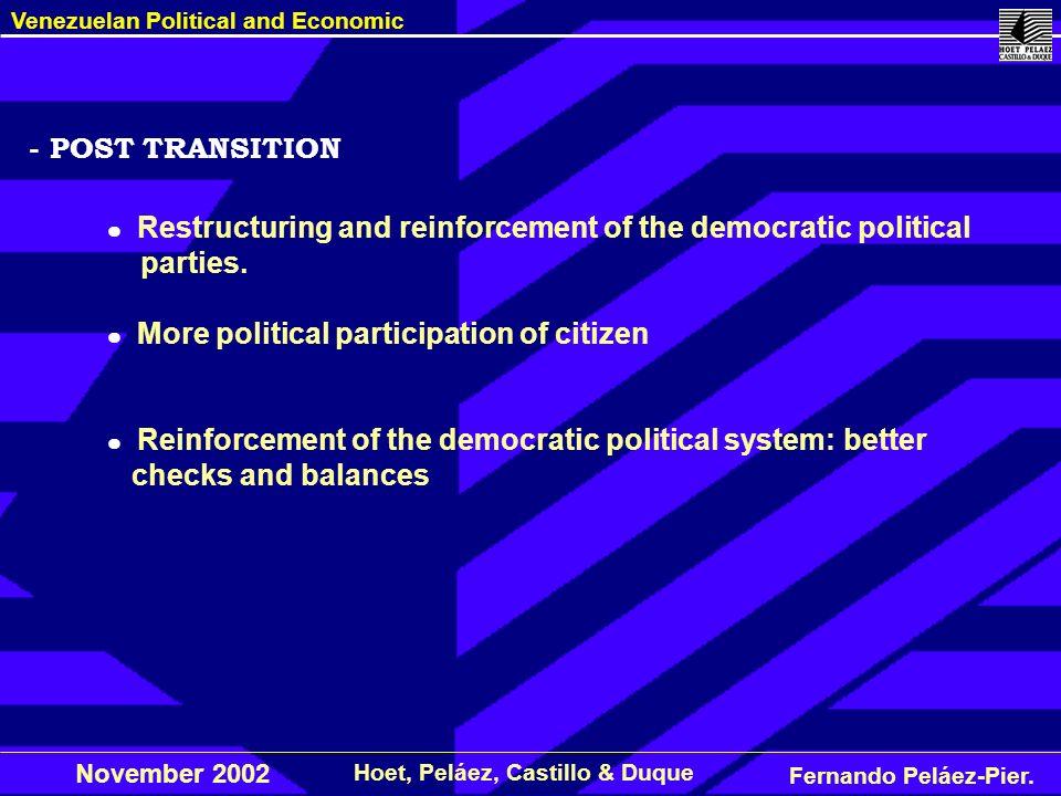 Fernando Peláez-Pier. Hoet, Peláez, Castillo & Duque Venezuelan Political and Economic November 2002 - POST TRANSITION Restructuring and reinforcement