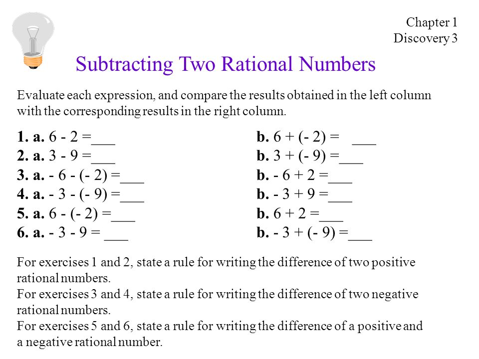 Subtracting Two Rational Numbers 1. a. 6 - 2 =___b.
