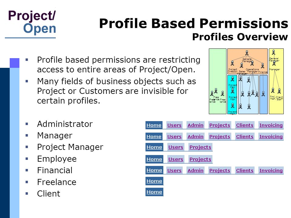 Profile Based Permissions Profile based permissions are restricting access to entire areas of Project/Open. Many fields of business objects such as Pr