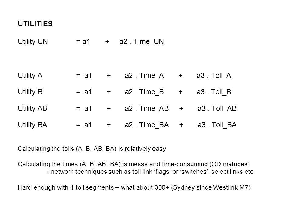 UTILITIES Utility UN= a1+ a2. Time_UN Utility A= a1 + a2. Time_A + a3. Toll_A Utility B= a1 + a2. Time_B + a3. Toll_B Utility AB= a1 + a2. Time_AB + a
