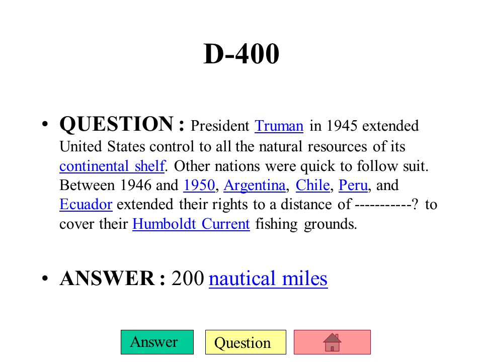 Question Answer D-300 QUESTION : The ------- --- --- --- ? defines the rights and responsibilities of nations in their use of the world's oceans, esta