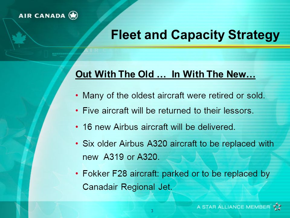 3 Fleet and Capacity Strategy Out With The Old … In With The New… Many of the oldest aircraft were retired or sold.