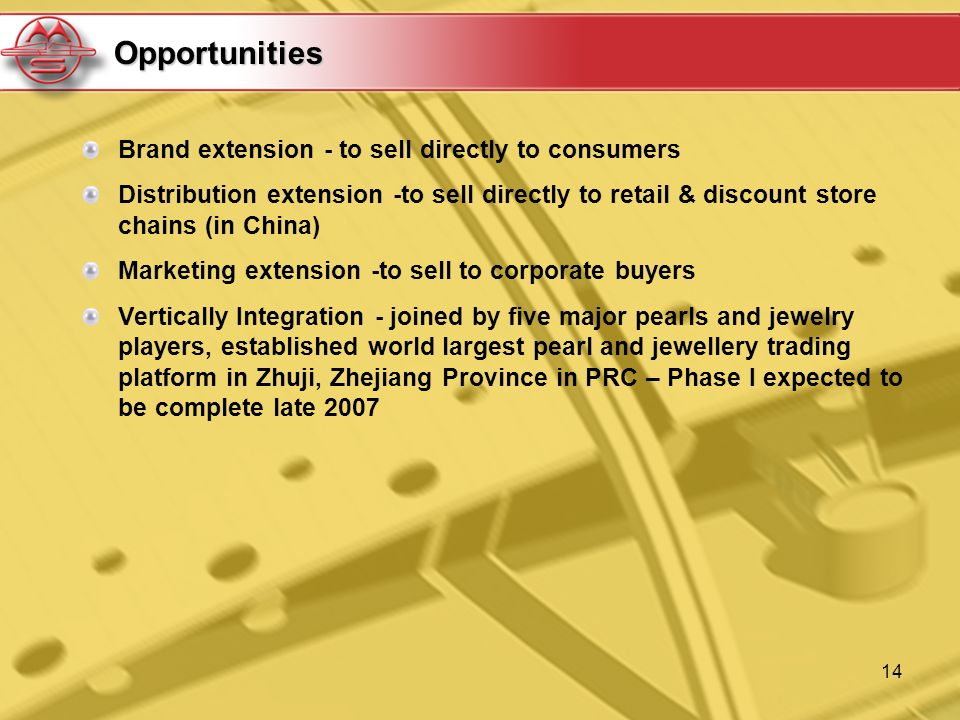 14 Opportunities Brand extension - to sell directly to consumers Distribution extension -to sell directly to retail & discount store chains (in China)