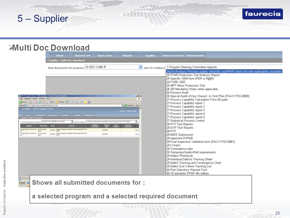 Property of Faurecia - Duplication prohibited 25 5 – Supplier Multi Doc Download Shows all submitted documents for : a selected program and a selected