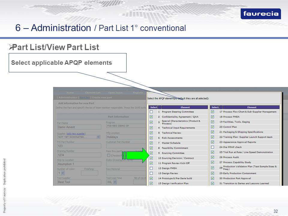 Property of Faurecia - Duplication prohibited 32 Part List/View Part List Select applicable APQP elements 6 – Administration / Part List 1° convention