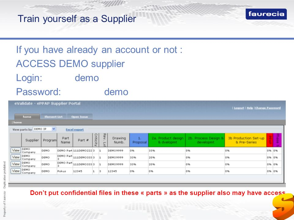 Property of Faurecia - Duplication prohibited 52 Train yourself as a Supplier If you have already an account or not : ACCESS DEMO supplier Login:demo