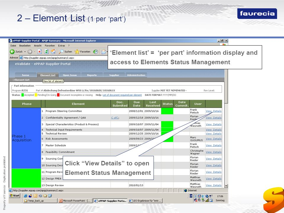 Property of Faurecia - Duplication prohibited 8 2 – Element List (1 per part) Click View Details to open Element Status Management Element list = per