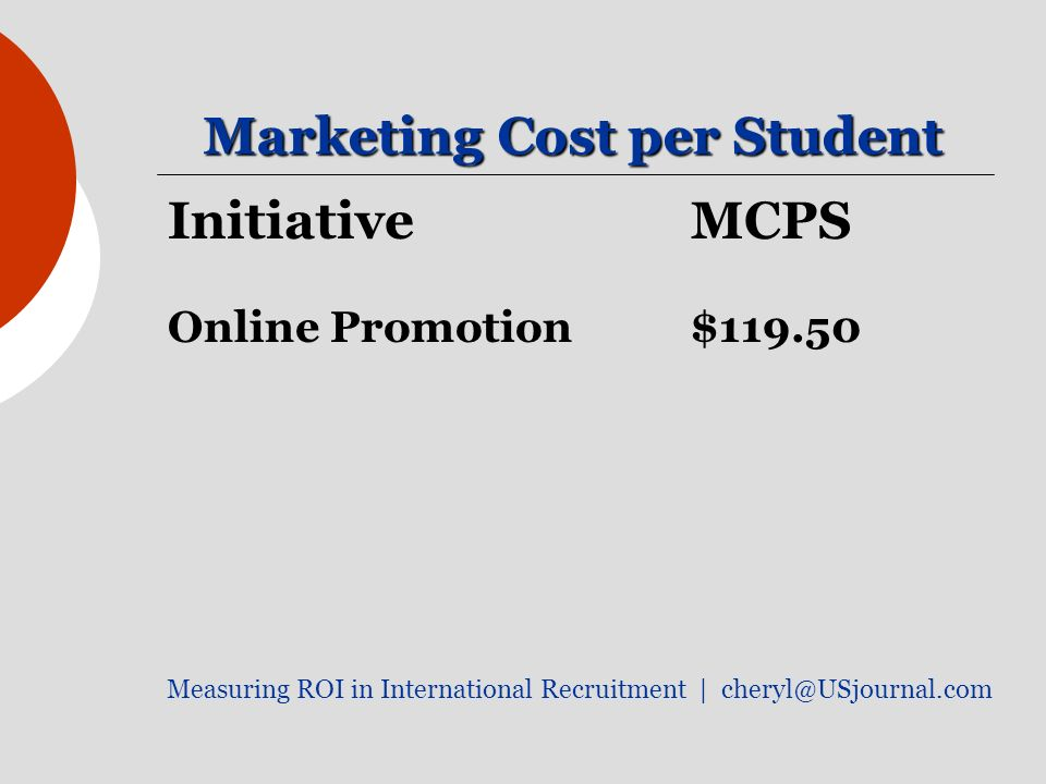 Marketing Cost per Student Initiative MCPS Online Promotion$ Measuring ROI in International Recruitment |
