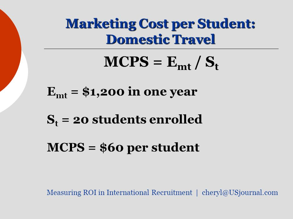 Marketing Cost per Student: Domestic Travel MCPS = E mt / S t E mt = $1,200 in one year S t = 20 students enrolled MCPS = $60 per student Measuring ROI in International Recruitment |
