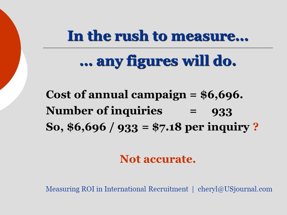 In the rush to measure… … any figures will do. Cost of annual campaign= $6,696.