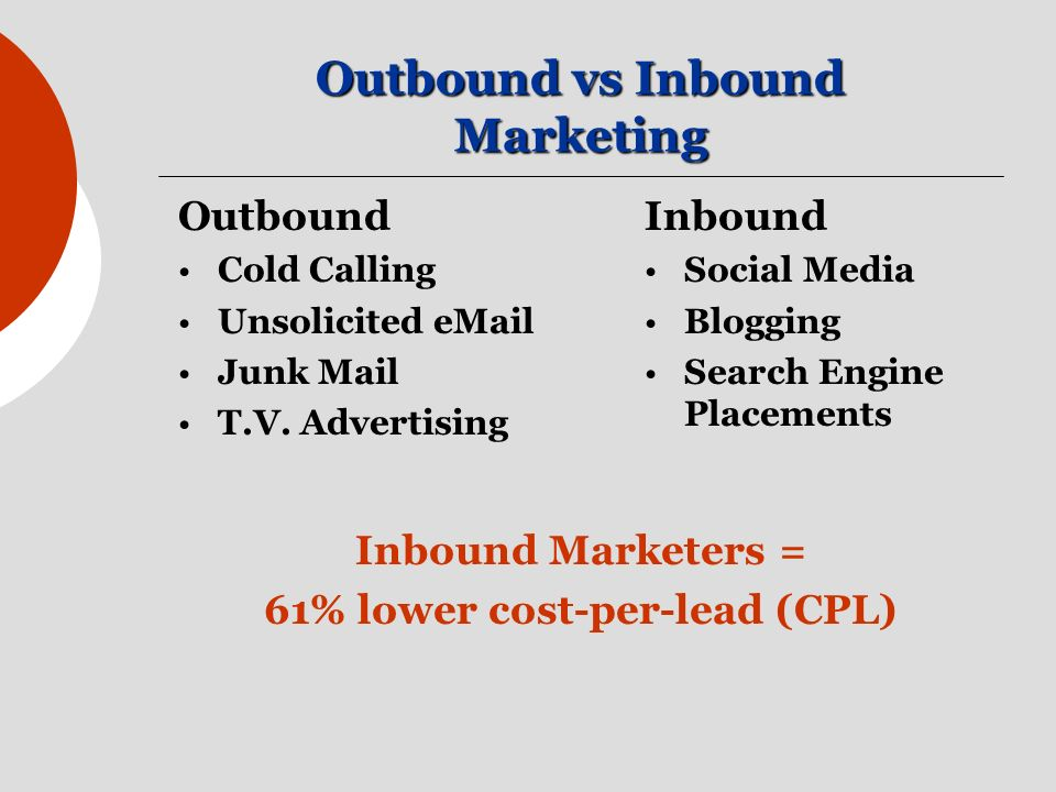 Outbound vs Inbound Marketing Outbound Cold Calling Unsolicited  Junk Mail T.V.