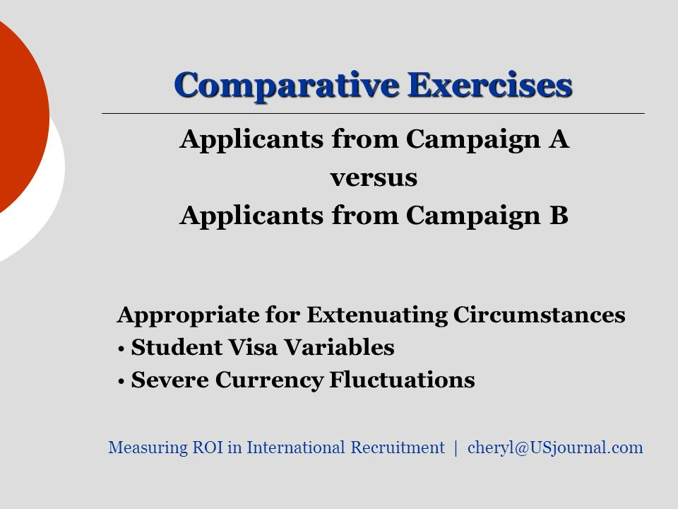Comparative Exercises Applicants from Campaign A versus Applicants from Campaign B Appropriate for Extenuating Circumstances Student Visa Variables Severe Currency Fluctuations Measuring ROI in International Recruitment |