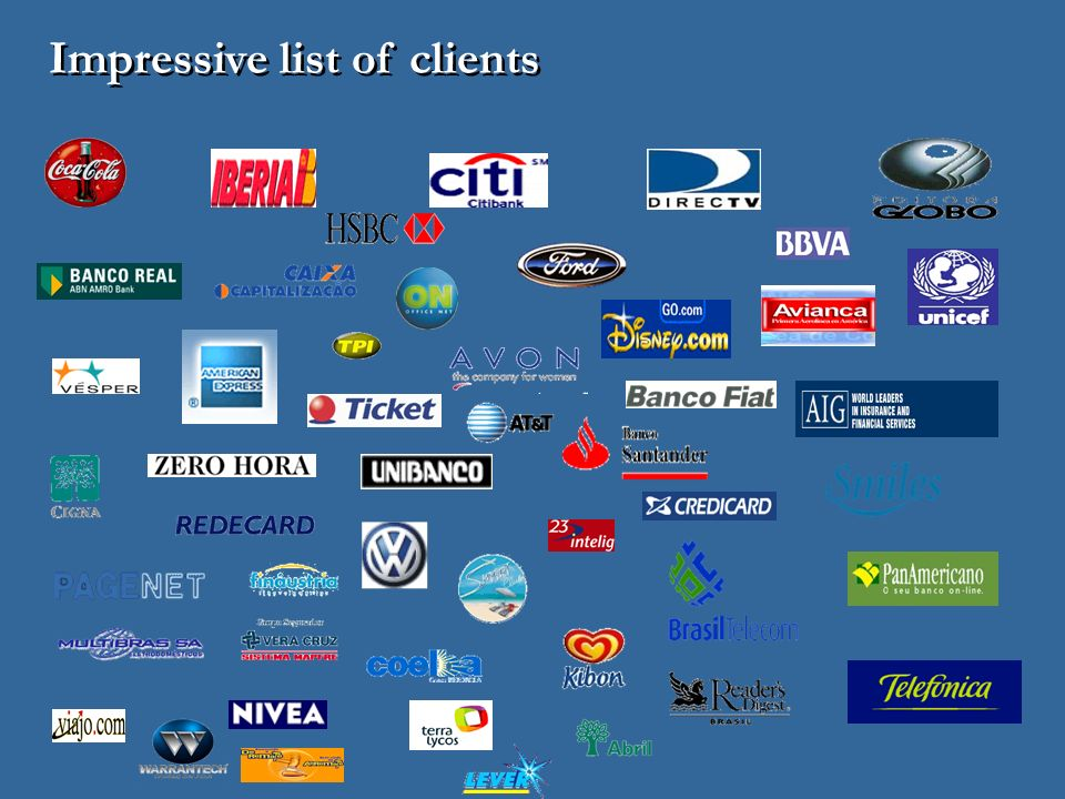 Impressive list of clients