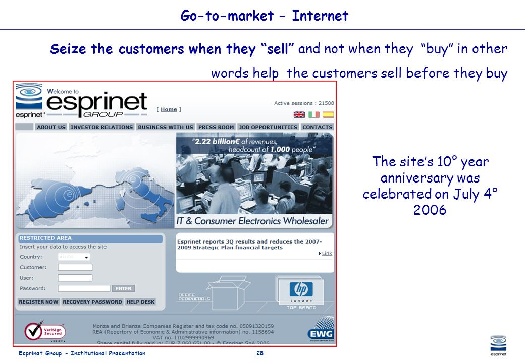 Esprinet Group - Institutional Presentation28 Go-to-market - Internet Seize the customers when they sell and not when they buy in other words help the