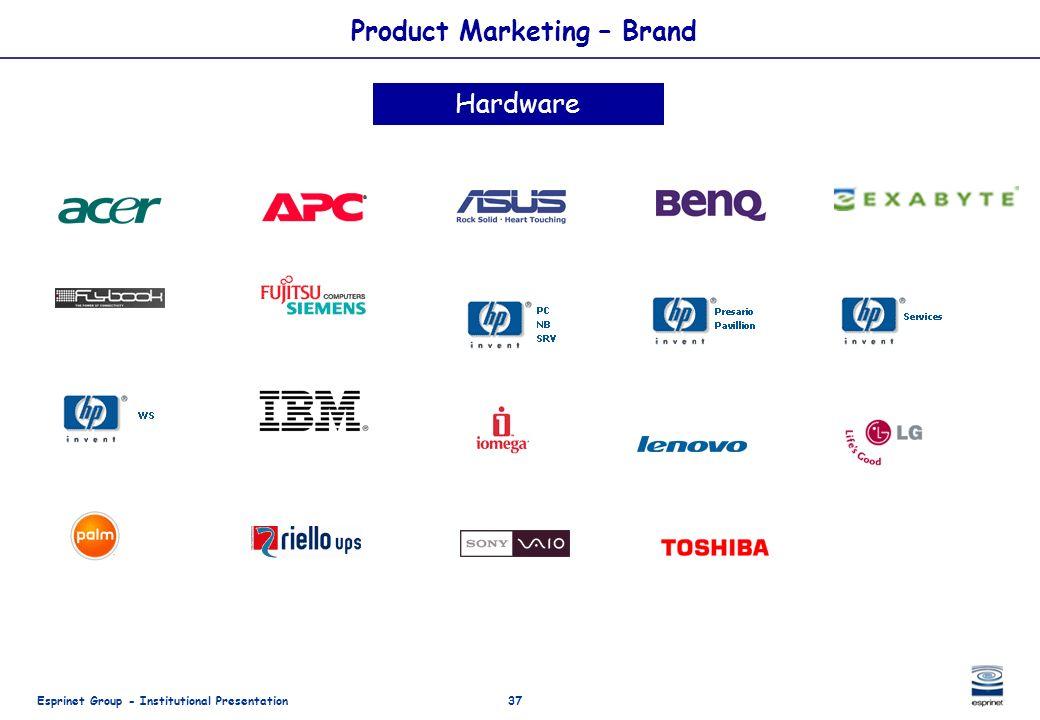 Esprinet Group - Institutional Presentation37 Product Marketing – Brand Hardware