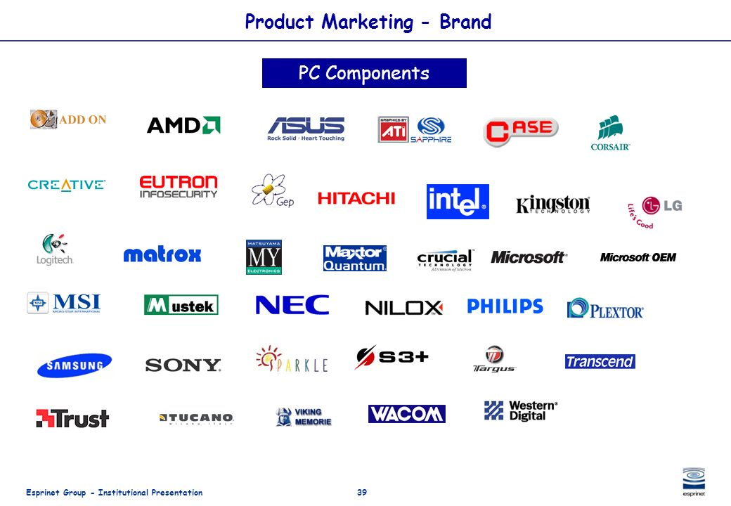 Esprinet Group - Institutional Presentation39 Product Marketing - Brand PC Components