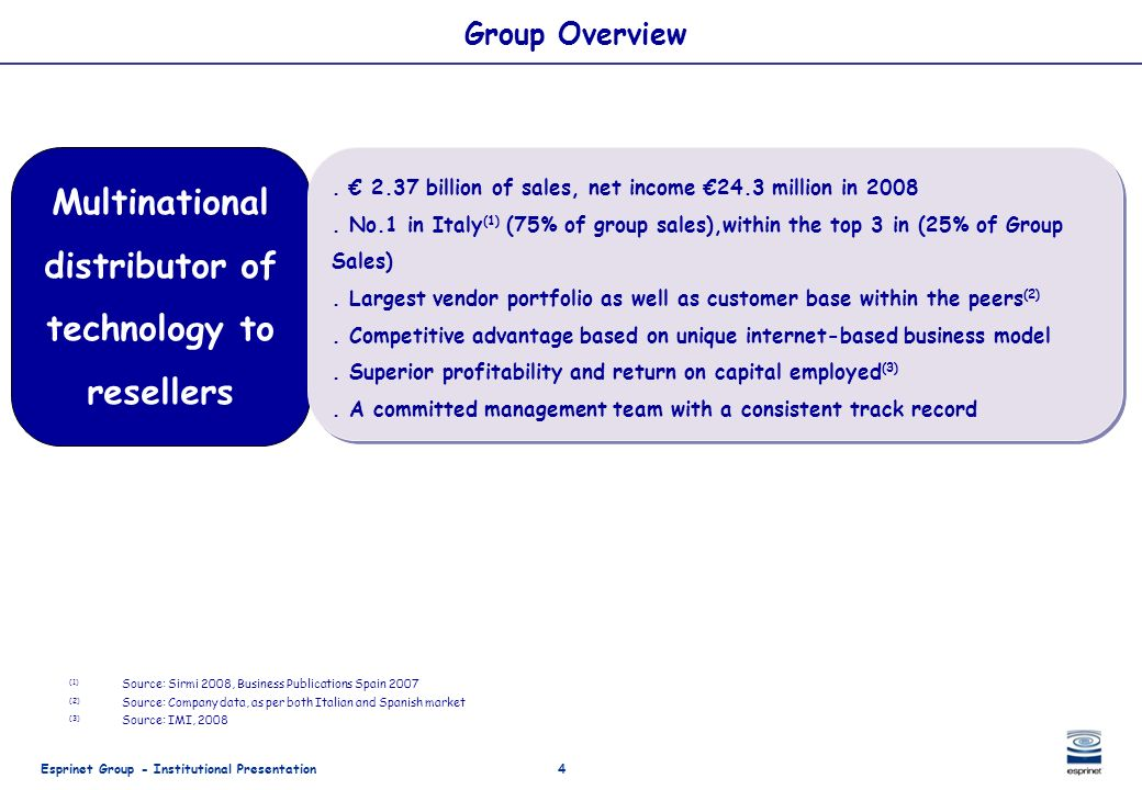 Esprinet Group - Institutional Presentation4 Group Overview (1) Source: Sirmi 2008, Business Publications Spain 2007 (2) Source: Company data, as per