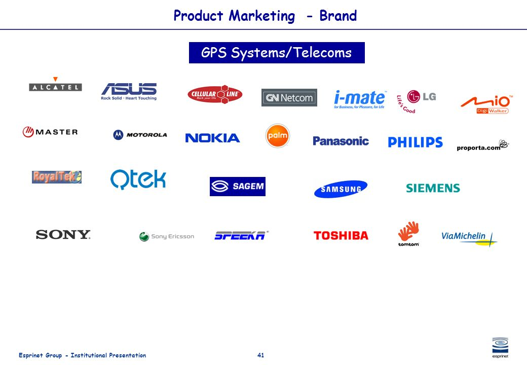Esprinet Group - Institutional Presentation41 Product Marketing - Brand GPS Systems/Telecoms