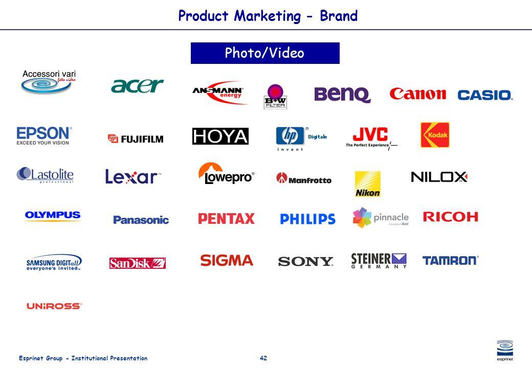 Esprinet Group - Institutional Presentation42 Product Marketing - Brand Photo/Video