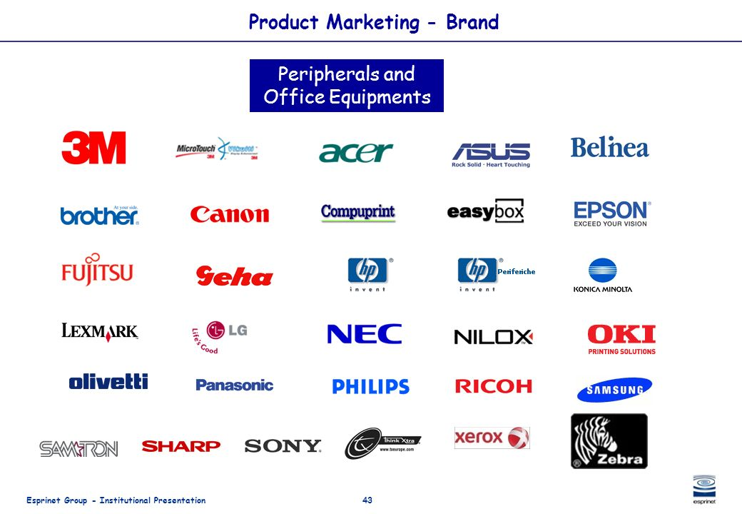 Esprinet Group - Institutional Presentation43 Product Marketing - Brand Peripherals and Office Equipments