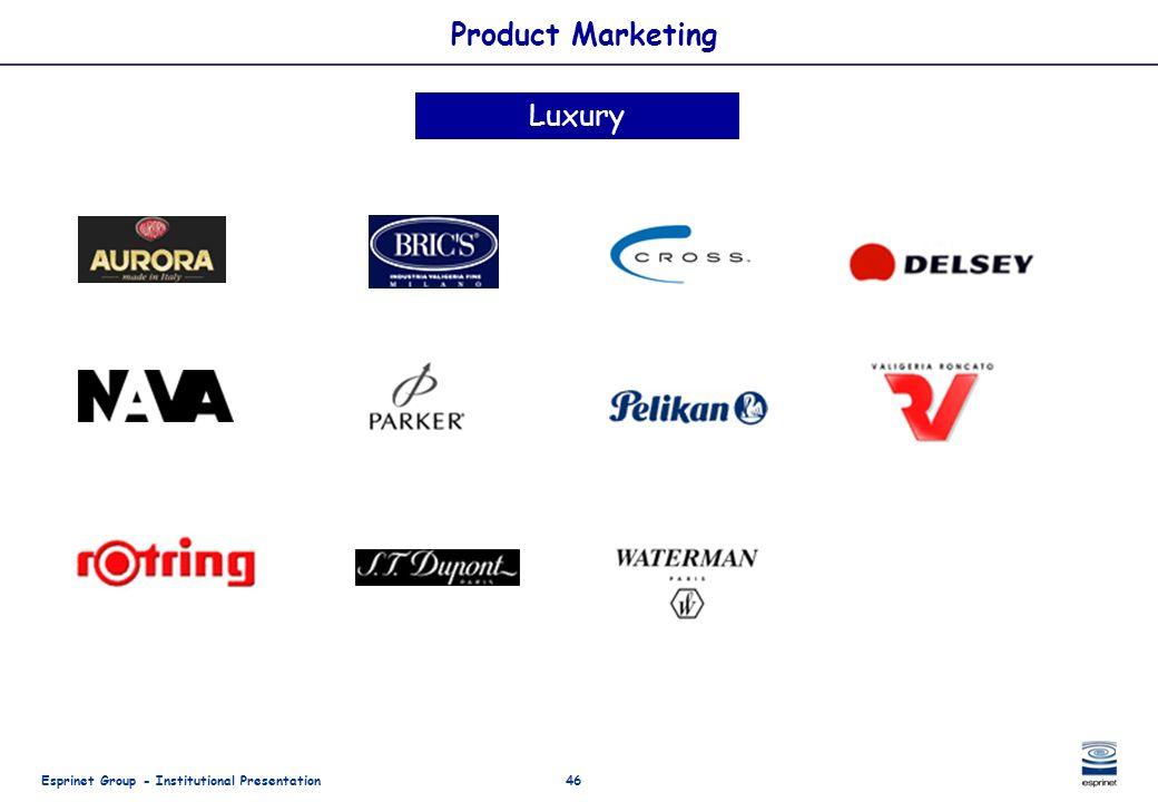 Esprinet Group - Institutional Presentation46 Product Marketing Luxury