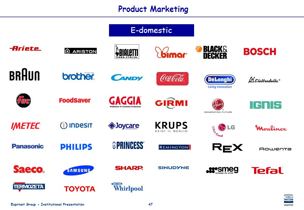 Esprinet Group - Institutional Presentation47 Product Marketing E-domestic