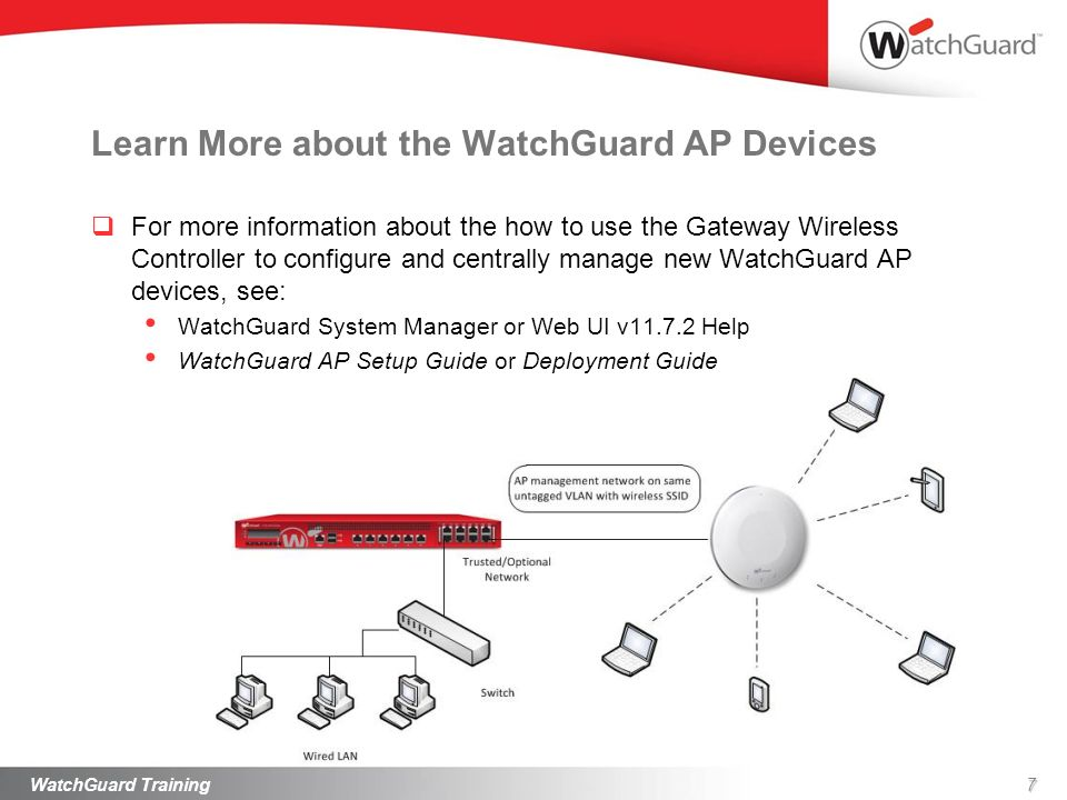Learn More about the WatchGuard AP Devices For more information about the how to use the Gateway Wireless Controller to configure and centrally manage
