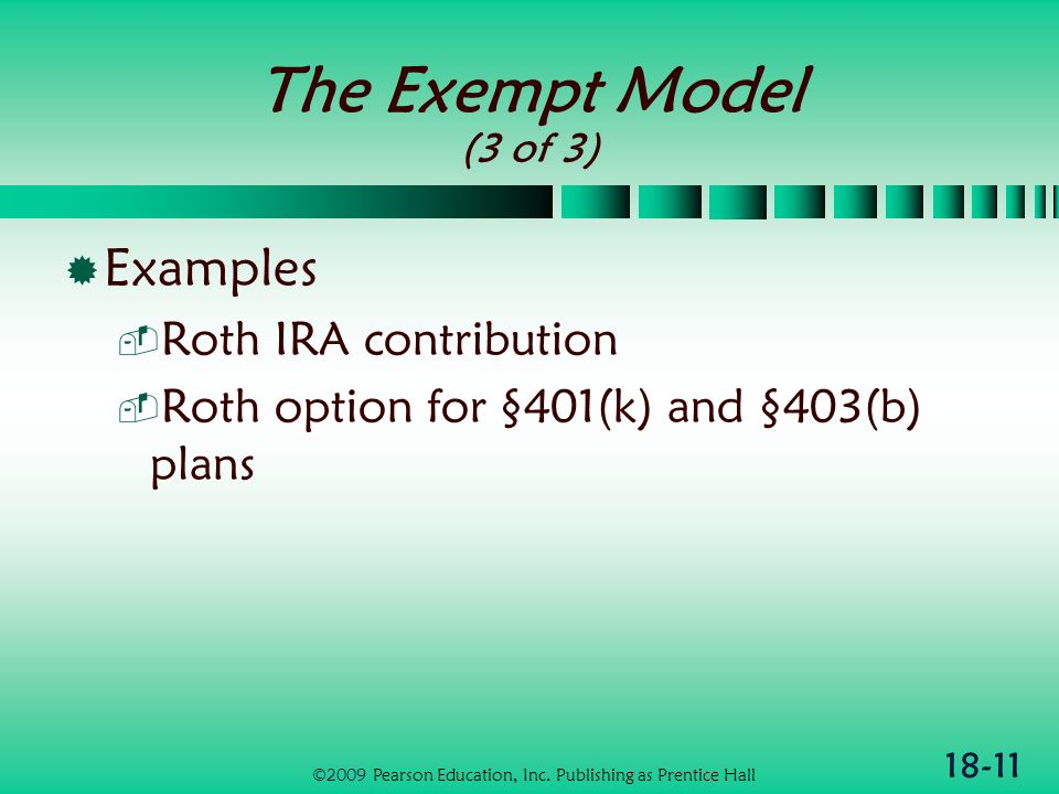 18-11 The Exempt Model (3 of 3) Examples Roth IRA contribution Roth option for §401(k) and §403(b) plans ©2009 Pearson Education, Inc.