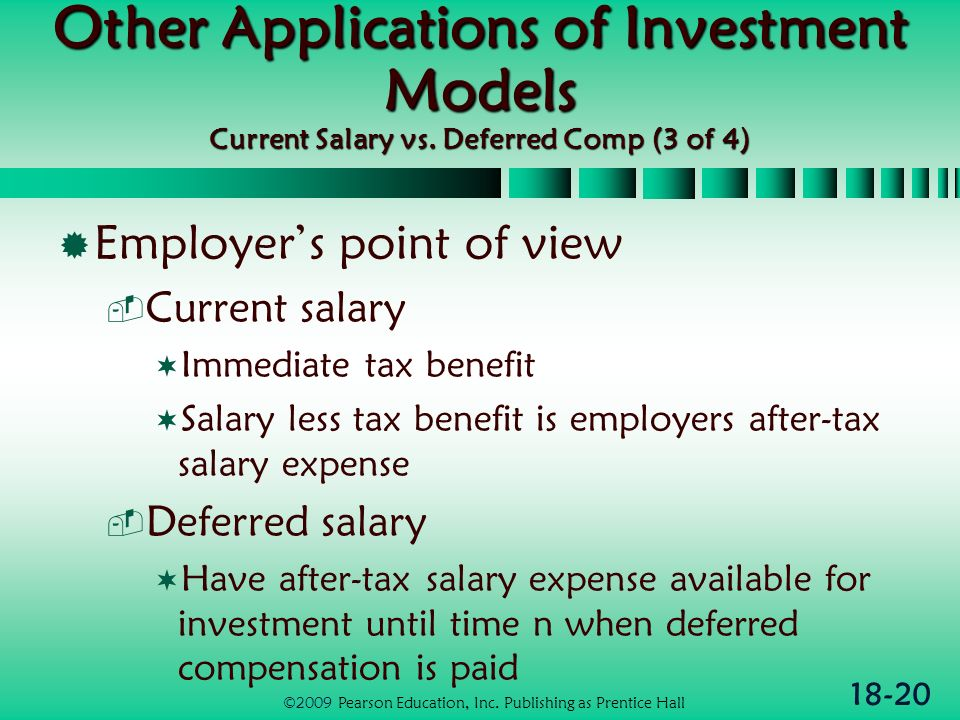 18-20 Other Applications of Investment Models Current Salary vs.