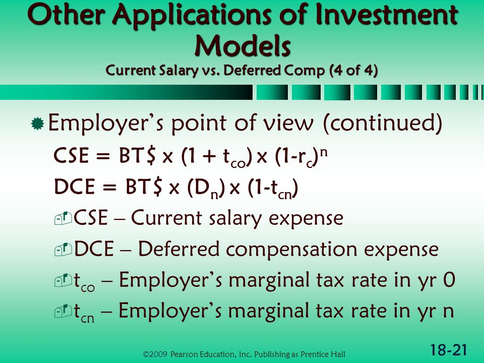18-21 Other Applications of Investment Models Current Salary vs.
