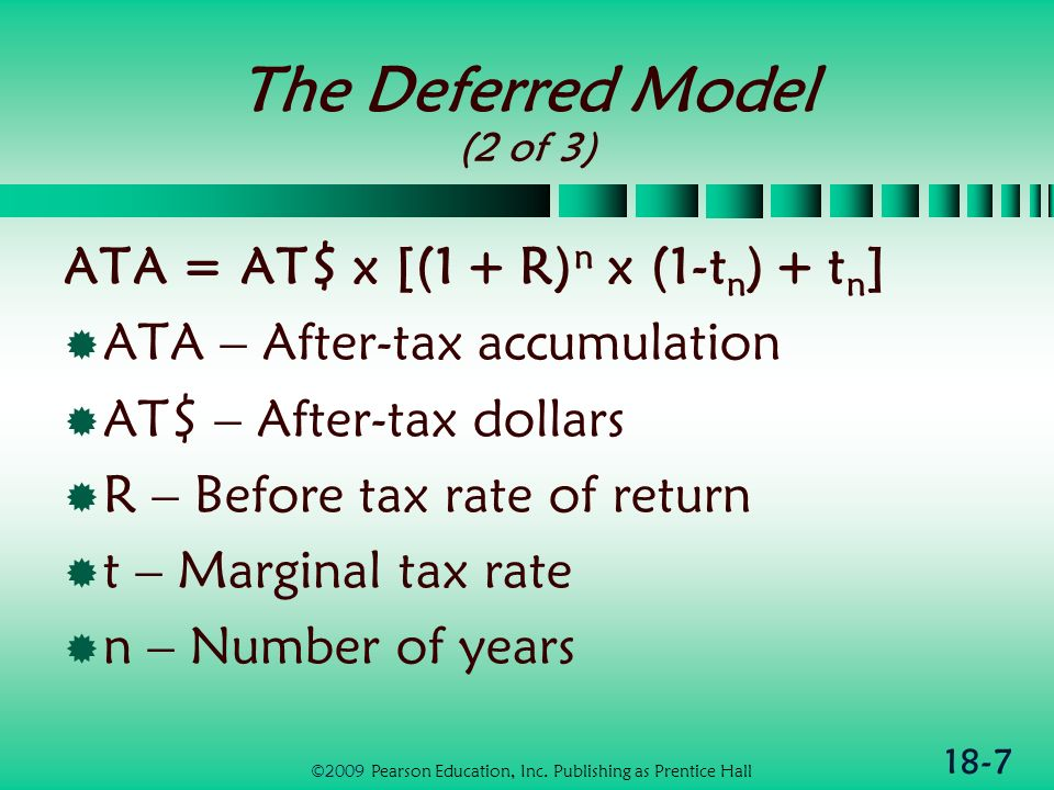 18-7 The Deferred Model (2 of 3) ATA = AT$ x [(1 + R) n x (1-t n ) + t n ] ATA – After-tax accumulation AT$ – After-tax dollars R – Before tax rate of return t – Marginal tax rate n – Number of years ©2009 Pearson Education, Inc.