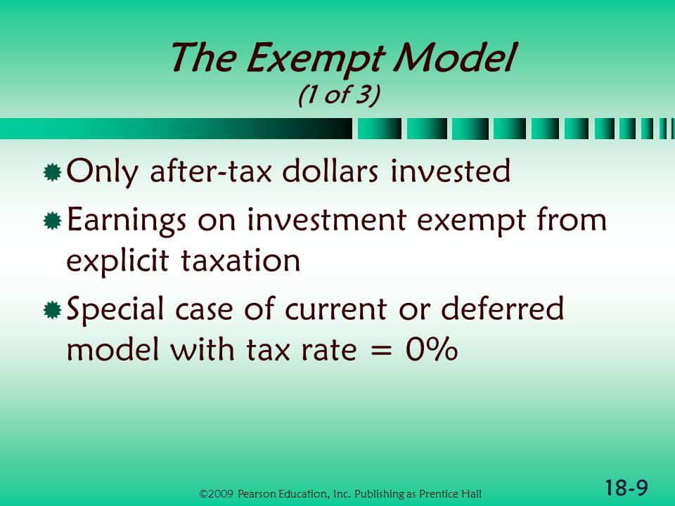 18-10 The Exempt Model (2 of 3) ATA = AT$ x (1 + R) n ATA – After-tax accumulation AT$ – After-tax dollars R – Before tax rate of return n – Number of years ©2009 Pearson Education, Inc.