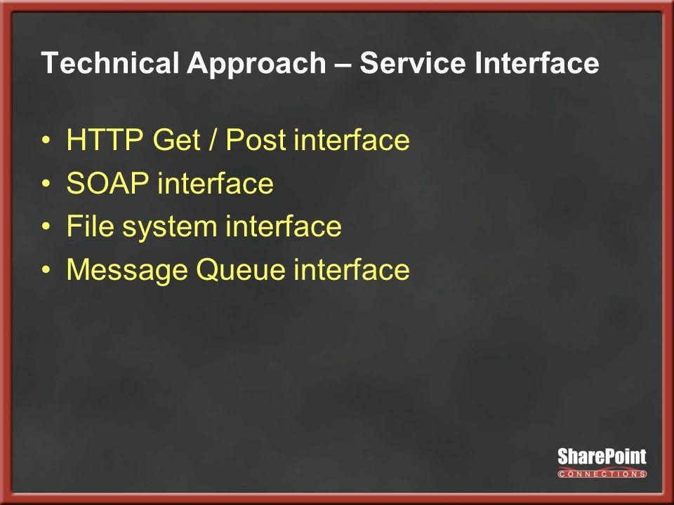 Technical Approach – Service Interface HTTP Get / Post interface SOAP interface File system interface Message Queue interface