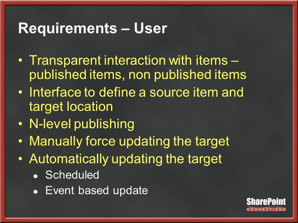 Requirements – User Transparent interaction with items – published items, non published items Interface to define a source item and target location N-level publishing Manually force updating the target Automatically updating the target Scheduled Event based update