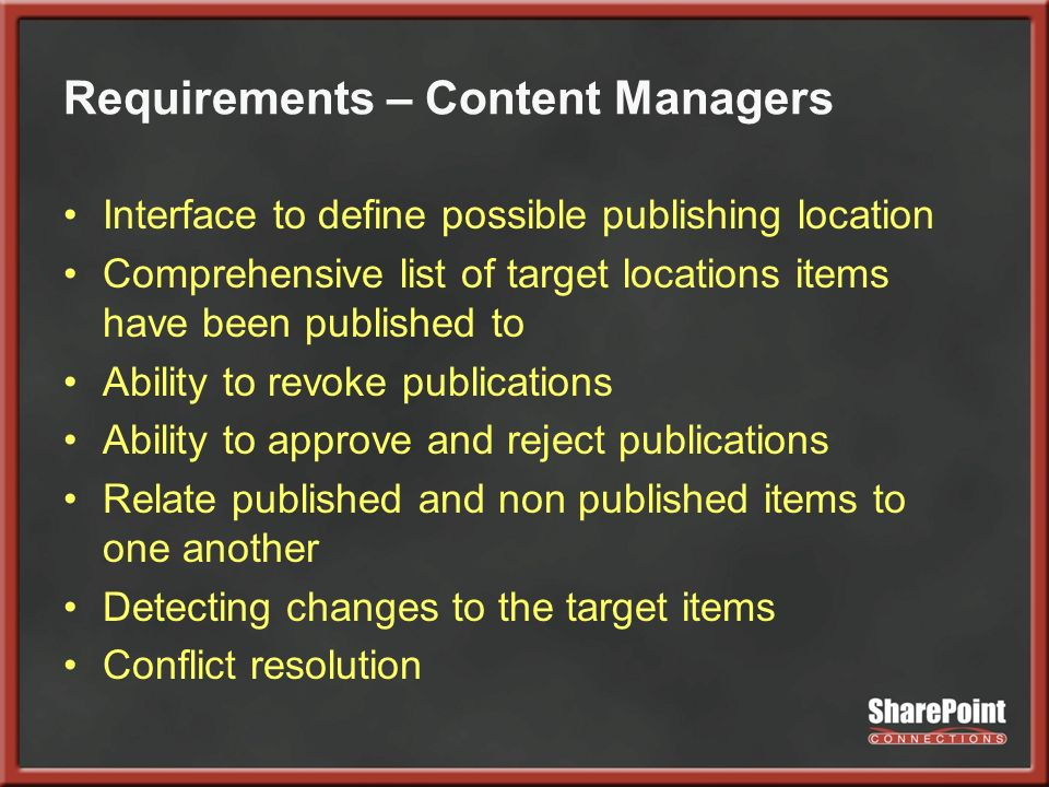 Requirements – Content Managers Interface to define possible publishing location Comprehensive list of target locations items have been published to A