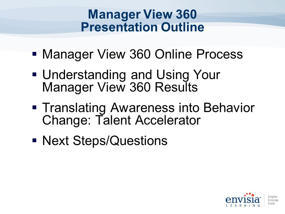 Manager View 360 Presentation Outline Manager View 360 Online Process Understanding and Using Your Manager View 360 Results Translating Awareness into